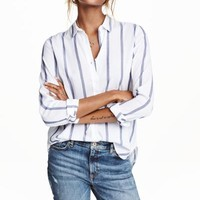 Cotton shirt - White/Striped - Ladies | H&M GB