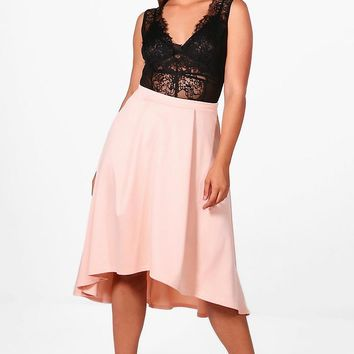 Plus Eva Scuba Dipped Hem Midi Skirt | Boohoo