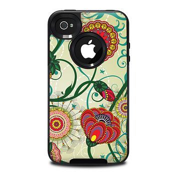The Vintage Green Floral Vector Pattern Skin for the iPhone 4-4s OtterBox Commuter Case