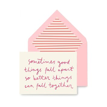 Min. Case Pack // Sometimes Good Things Fall Apart Greeting Card, Single or Boxed Set of 8