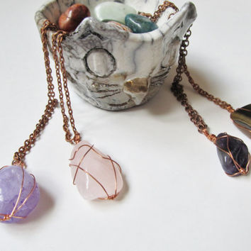 Wire Wrapped Crystal Necklace, Gemstone Necklace, Wire Wrapped Stone Necklace, Wire Wrapped Crystal Pendant, Tumbled Amethyst, Rose Quartz