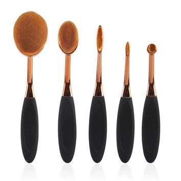ODESSY New 5 Piece Soft Make Up Rose Gold Oval Makeup Brushes Set Cosmetic Tools Kit For Face Eye Lip Beauty