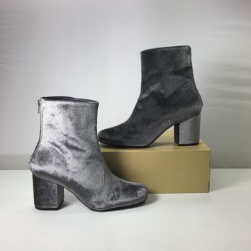 Free People Women's Cecile Grey Velvet Boots
