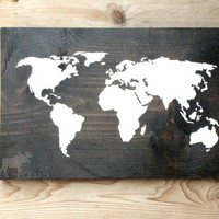 """Rustic Wood World Map Wall Art - 18""""x11.5"""" solid pine, wall hanging, rustic home decor, nursery art, stained wood, cabin decor, world map"""