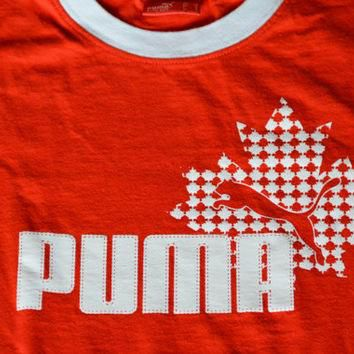 Vintage Red and White Puma Ringer Cotton T-Shirt - Size S Small Retro Tee Sports T-sh