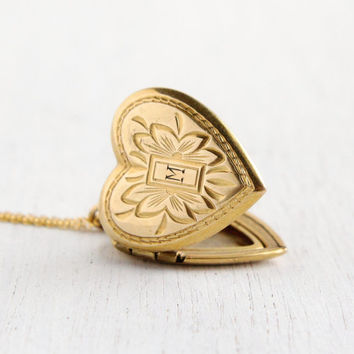 Vintage Heart Locket Necklace - Gold Filled 1940s Sweetheart Monogrammed M Late Art Deco Era Floral Jewelry