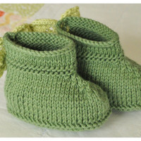 Knit booties unisex baby booties cotton booties forest green booties baby gift ideas