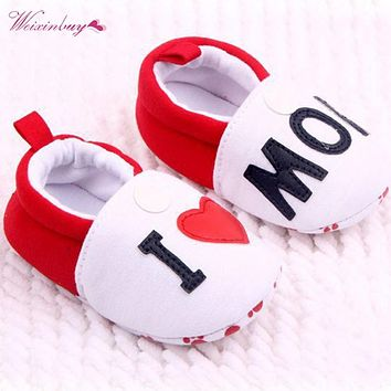 WEIXINBUY Lovely Toddler Baby Girl Boy Round Toe Flats Soft Slippers Shoes I Love MOM/DAD First Walkers