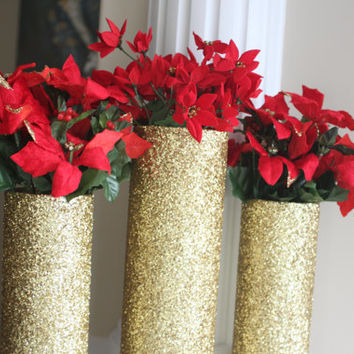Christmas Centerpiece, Gold Christmas Centerpiece, Gold Christmas Decor, Gold Centerpiece, Christmas Table Decor,Gold Centerpiece, Gold Vase