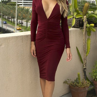 Sexy Deep V Backless Pen Dress One Piece Dress [4966040004]