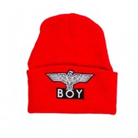 Red Cuffed Boy Beanie by Boy London - ShopKitson.com