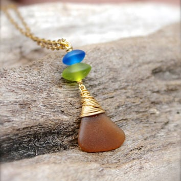 Sea Glass Necklace - Seaglass Jewelry made in Hawaii - Beach Boho Necklace - Hawaiian Jewelry - Sea Glass Jewelry from Hawaii Gypsy Necklace