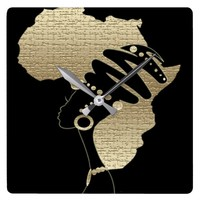 Africa In Gold Square Wall Clock
