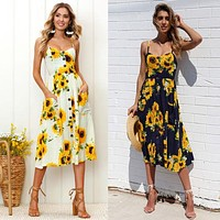 New Summer Sunflower Print Dress For Women Floral Print Mid calf Dress Party Evening Summer Beach Sundress