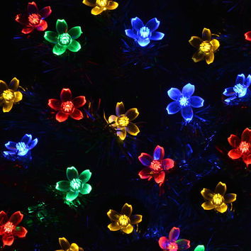 Solar Power Fairy String Lights 7M 50 LED LederTEK Peach Blossom Decorative Garden Lawn Patio Christmas Trees Wedding Party
