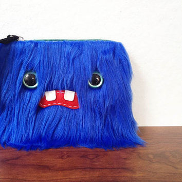 Small Blue Monster Pouch Two Turquoise Eyes by ShopGhoulieGirls