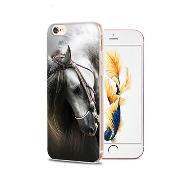 Horse Animal Printed Soft Cover For iPhone 6 6S Plus 7 7 Plus 5 5S 4 4S Silicone Rubber Skin Mobile Phone Cases Back Covers Case