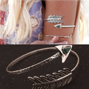 Bohemian Ethnic Upper Arm Bracelet Vintage Arrow Open Bangle Armlet Arm Cuff 2K4001