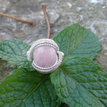 Pink Rose Quartz Stone Wire Wrap Ring 925 Sterling Silver Size 7 Handmade Heady Jewelry Gemstone Healing Stones Kynd Valley