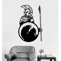 Vinyl Wall Decal Spartan Warrior With Spear Shield Helmet Stickers Unique Gift (1380ig)