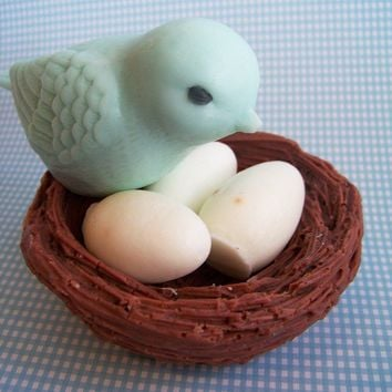 Blue Bird Nest Soap Set by LoveLeeSoaps on Etsy