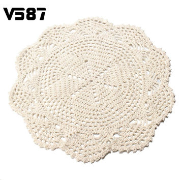 Flower Placemat Round Doilies Vintage Beige Crochet Lace Doily Cotton Yarn Handmade For Wedding Home Table Decoration 28CM