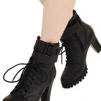Oasap Pin Buckle Strap Embellished Lace-up Ankle Black Boots 77% off retail