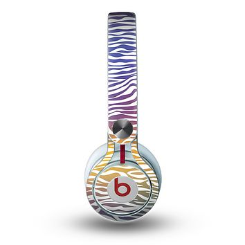 The Colorful Vector Zebra Animal Print Skin for the Beats by Dre Mixr Headphones