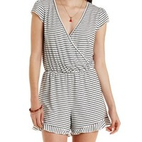 Black Combo Striped Ruffle T-Shirt Romper by Charlotte Russe