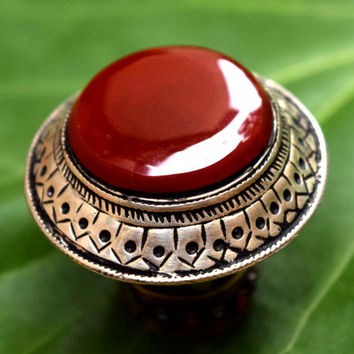 Red Carnelian Stone,Afghan Ring,Kuchi Ring,Ethnic Ring,Festival Hippie Ring,Bohemian Ring,Antique Jewelry,Carved Tribal Ring,Boho Gypsy Ring