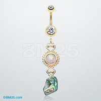Golden Opal Abalone Dangle Belly Button Ring
