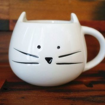 Moyishi 300ml Lovely Cute Little White Cat Coffee Milk Ceramic Mug Cup Christmas Birthday Best Gift