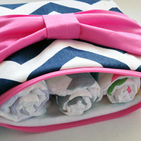 Navy Blue Chevron with Pink Bow Pouch, Baby/Children Zippered Pouch, Burp Cloth Pouch, Diaper Pouch