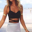 Women's Sexy Summer Backless Crossing Tank Tops Bustier Bra Bralette Blouse Vest Crop Top (Size: One Size, Color: Black/White) = 1956639172