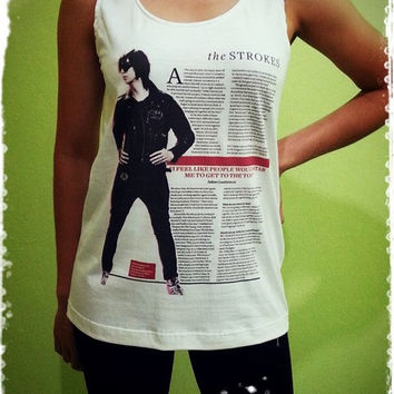 The Strokes News - Rock Band US American Singer Woman Tank Top Crop Vest Tshirt T Shirt Tees S, M, L