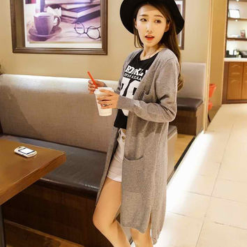 2017 Spring sales Fashion  High Quality Cashmere Long Cardigan Women V-Neck New  Design Genuine Goods Lowest Price Free Shipping