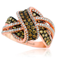 "Le Vian® Chocolate & Vanilla Diamond® ""Chocolate Wave"" Ring Set in 14K Strawberry Gold®"