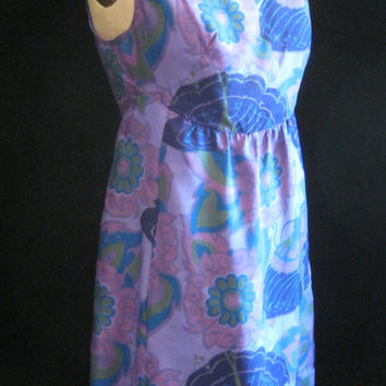 Vintage 70s Elegant THAI SILK Curved Waist DRESS  Easy Fit Shift Pockets Bust: 42""