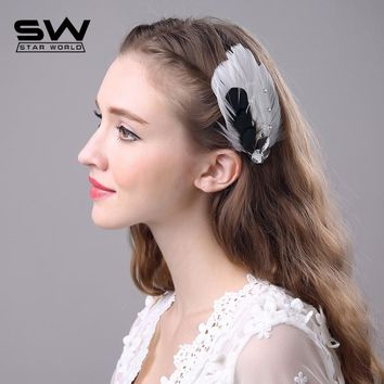 STARWORLD 6 colors Women's Vintage Style feather Hair Clip Pin wedding Hairpin Barrette Accessory Ballet hair ornaments