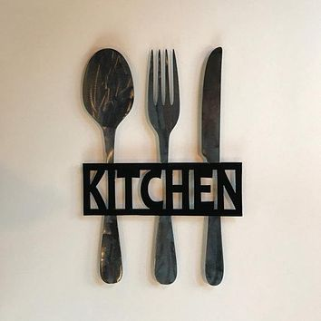 Kitchen Metal Sign, Knife Fork and Spoon Wall Decor,  Metal Kitchen Decor, Fork and Spoon, Metal Kitchen Sign