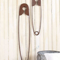 Set of 2 Laundry Room Safety Pins Wall Decor Bronze Finish Nostalgic Country