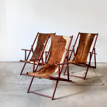 Vintage Cowhide Lounge Chairs