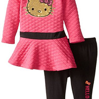 Hello Kitty Baby-Girls Newborn Quilted Tunic with Legging, Passion Fruit, 6-9 Months
