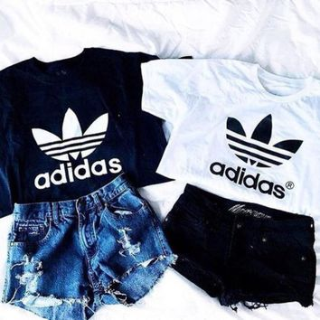PEAPON Adidas' Fashion Short Shirt Crop Top Tee