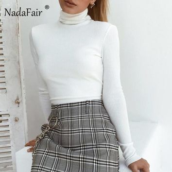 Nadafair Sexy Backless Riber T Shirt Women Autumn Long Sleeve Turtleneck Knitted Tee White Black Lace Up Bandage Cropped Top