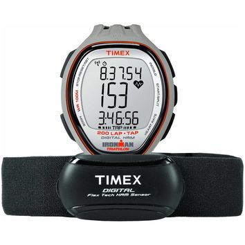 Timex T5K727 Men's Ironman Target Trainer Heart Rate Grey Dial Grey Strap Digital Chronograph Alarm Watch