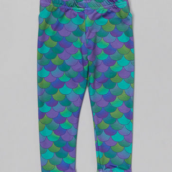 Urban Smalls Green & Purple Mermaid Scales Leggings - Infant & Toddler | zulily