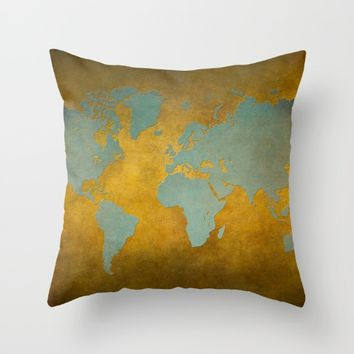 World map 9 green gold Throw Pillow by jbjart