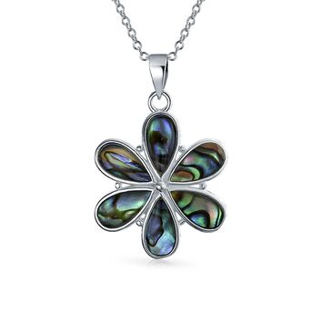 Flower Dangle Pendant Abalone Shell Necklace 925 Sterling Silver