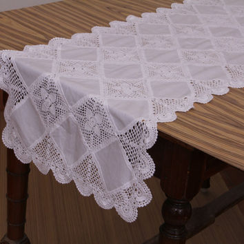 Patchwork TABLE RUNNER- Handmade Crochet- Cotton - Crochet Table Runner - Natural and White Color